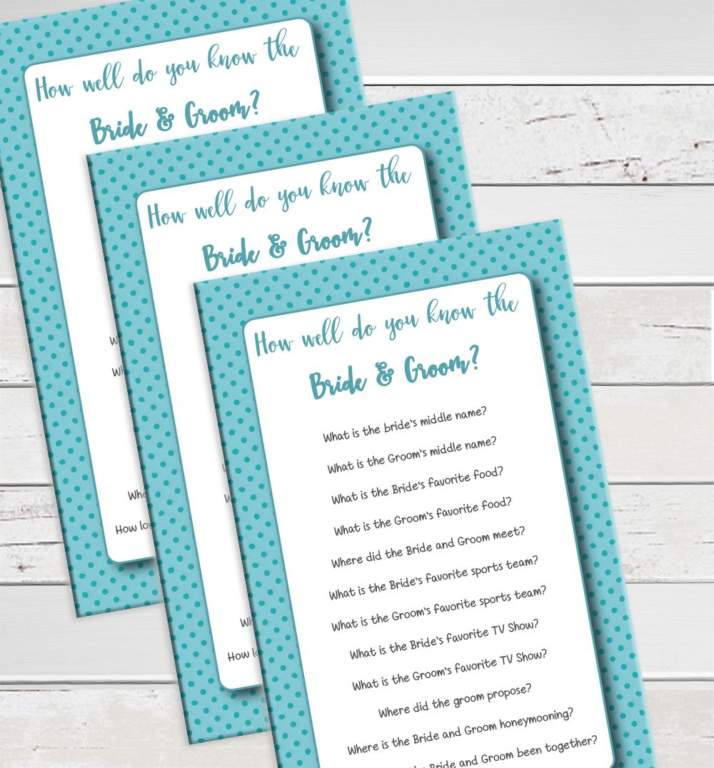 How Well Do You Know The Bride And Groom. Bridal Shower