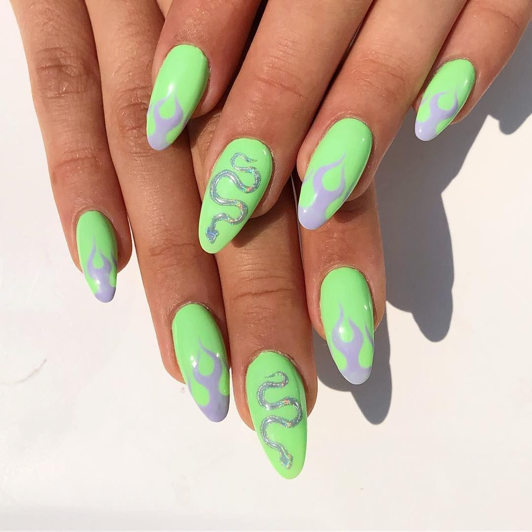 Handpainted Gel Nail Art On Instagram Finally Got To Recreate This Iconic Look By The One And Only Umanaila Neon Green Nails Gel Nail Art Green Nail Art