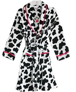 NEW Childrens Cow Print Soft & Fluffy Dressing Gown Animal Robe ...