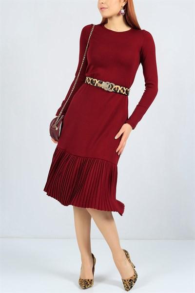 47 95 Tl Etegi Piliseli Bordo Triko Elbise 23229b Modamizbir Elbise Kazak Elbise Mankenler
