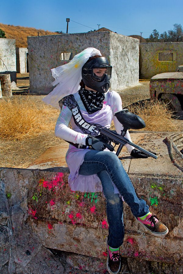 Wreck the dress/ bachelorette party ideas. Get an old dress and your girls together and paintball.