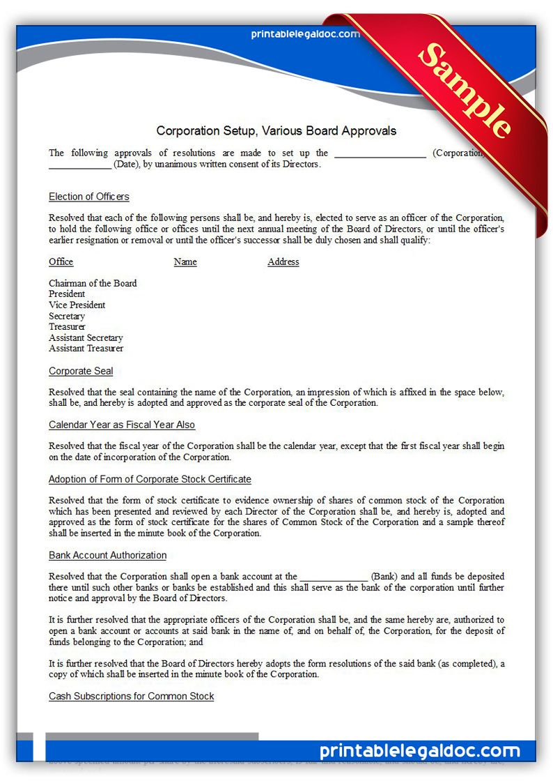 Free Printable Corporation Setup Various Board Approvals Sample - Corporation legal form