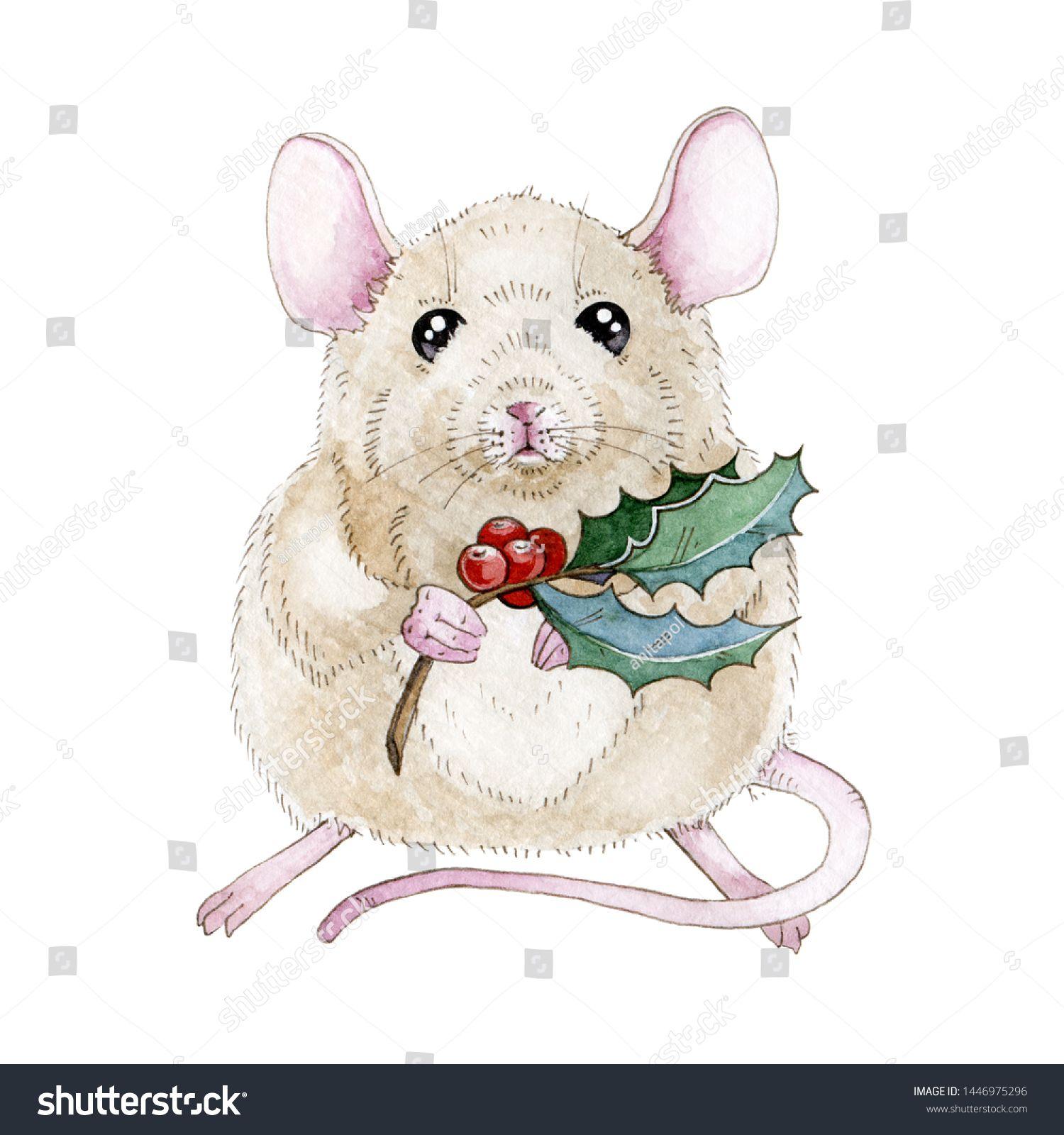 Стоковая иллюстрация «Watercolor Mouse Rat Illustration Nice Christmas», 1446975296