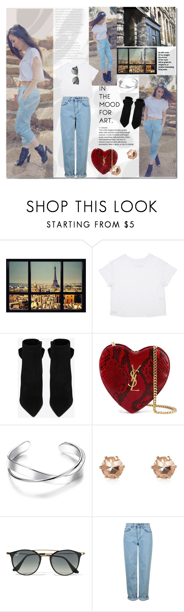 """""""Blue jean white shirt"""" by bellamonica ❤ liked on Polyvore featuring Yves Saint Laurent, River Island, Ray-Ban and Topshop"""