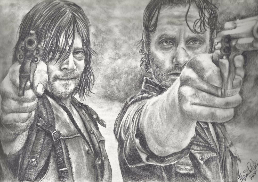 Original Drawing The Walking Dead Daryl Dixon Rick Grimes 9x12