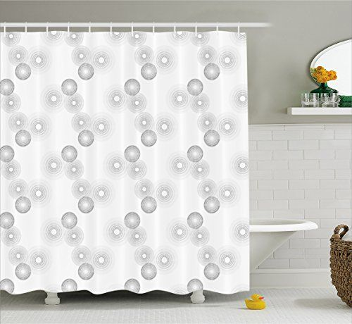 Grey Decor Shower Curtain By Ambesonne Dark And Light Toned Disc Shaped Cycle Gradient Minimalist Halo Wheel Motifs Graphic Fabric Bathroom Set With