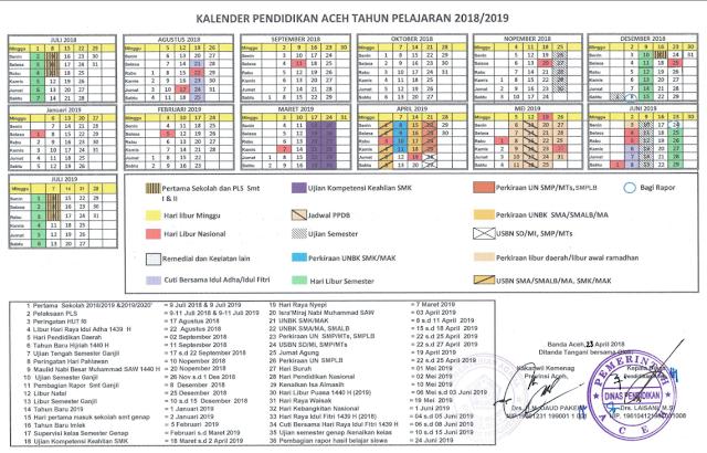 Kalender Pendidikan Kaldik Provinsi Aceh Tahun 2018 2019 Pendidikan Kalender Sekolah
