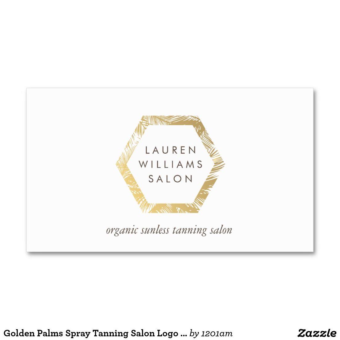 Golden Palms Spray Tanning Salon Logo on White Business Card | Salon ...