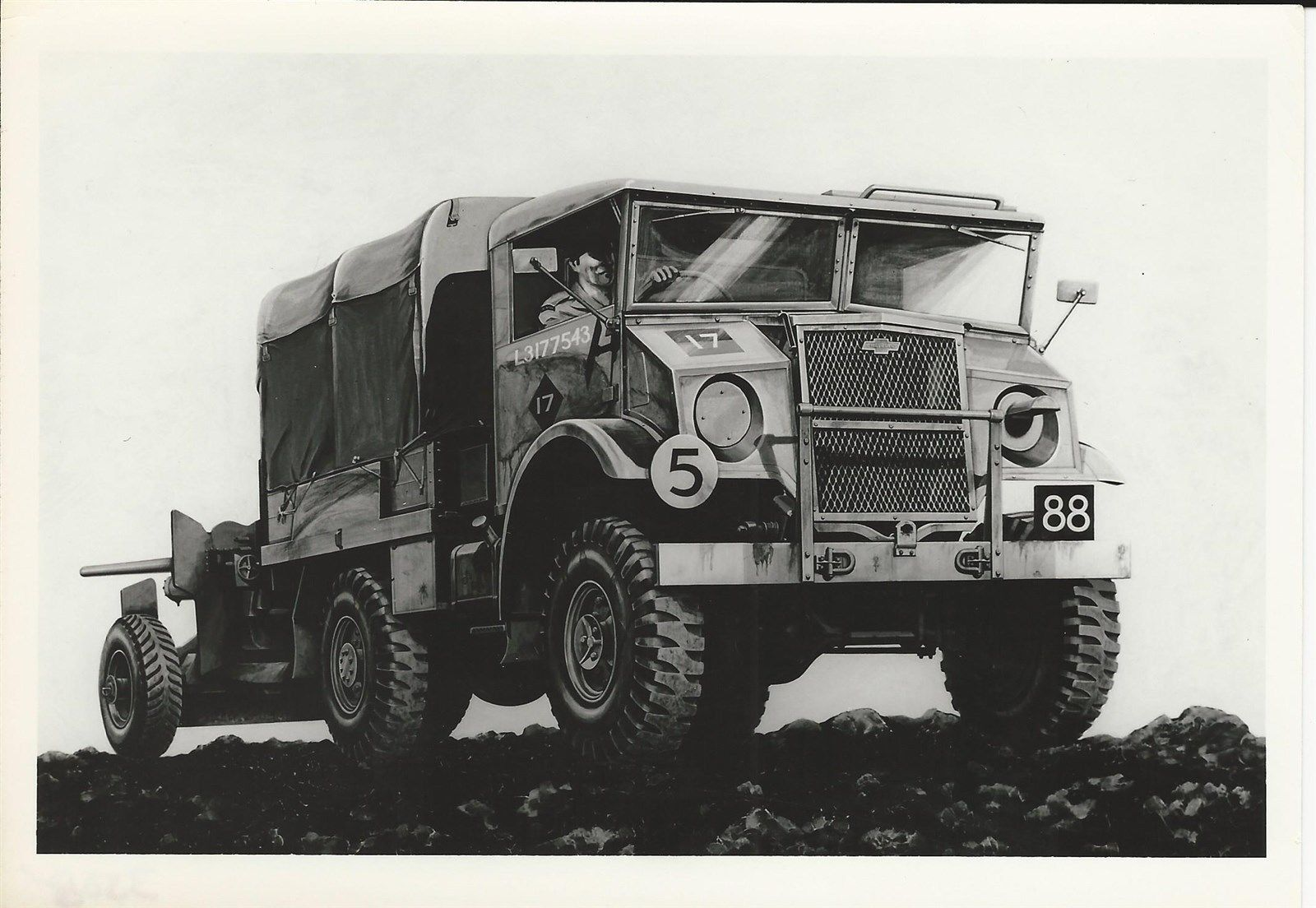 WWI CANADIAN CHEVROLET 4 x 4 MILITARY PATTERN TRUCK (CMP) - Black & White  Photo