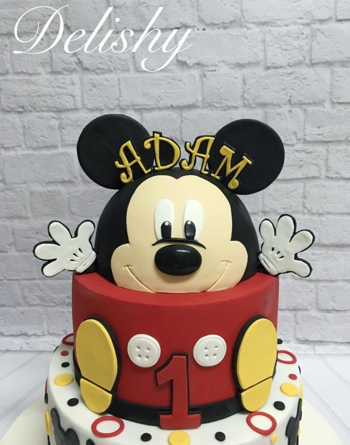 Mickey Mouse first birthday cake by Zahraa | עוגה לבנצ'וק | Mickey ...
