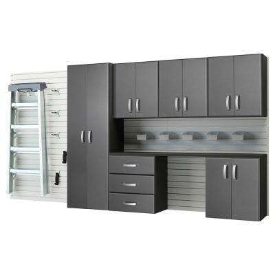 Modular Wall Mounted Garage Cabinet Storage Set With Workstation Accessories White Graphite Carbon Fiber 22 Piece Home Improvements Pinterest