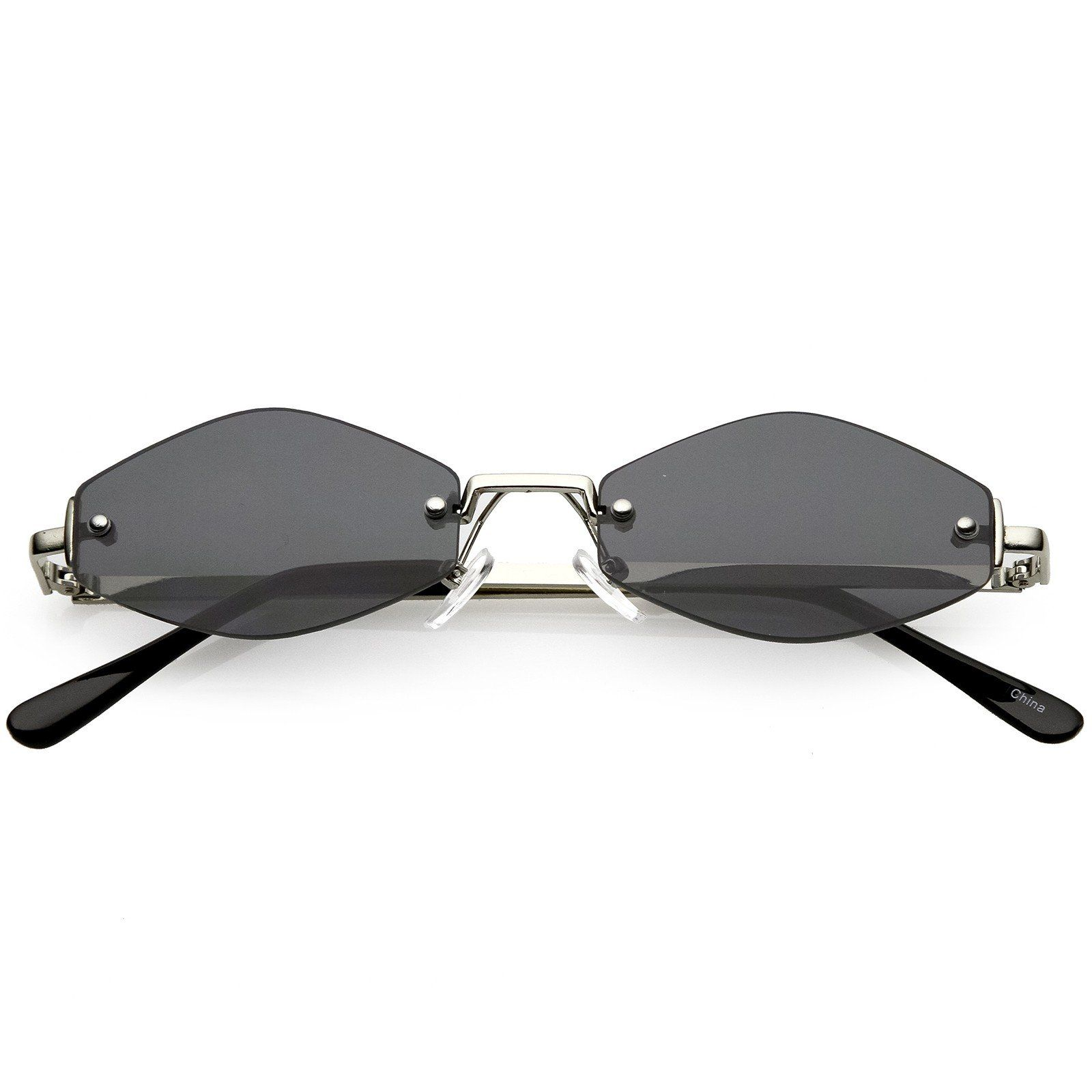 Extreme Small Geometric Rimless Sunglasses Neutral Colored