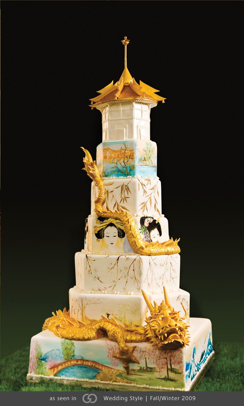 Japanese-inspired cake with hand-painted scenes and an 18K gold leaf dragon and pagoda. @grace_ormande @wedding_style