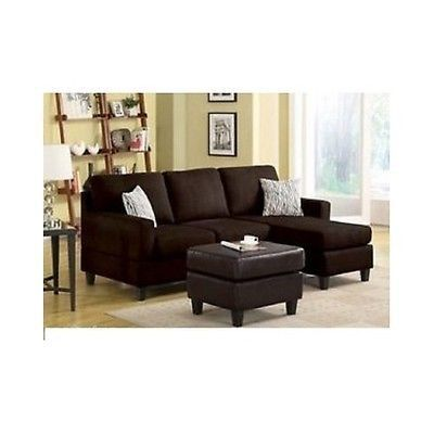 Microfiber Sectional Sofa Reversible Chaise Lounge Small Couch Furniture Relax