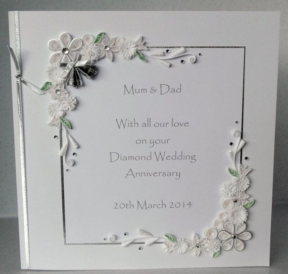 60th Diamond Wedding Anniversary Card By Paperdaisycards On Etsy