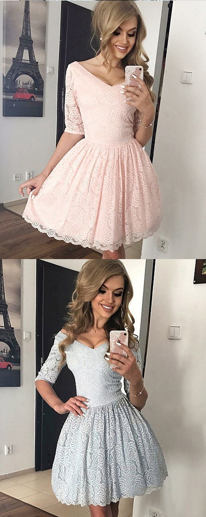 Off the shoulder grey lace ball gown homecoming dress with half
