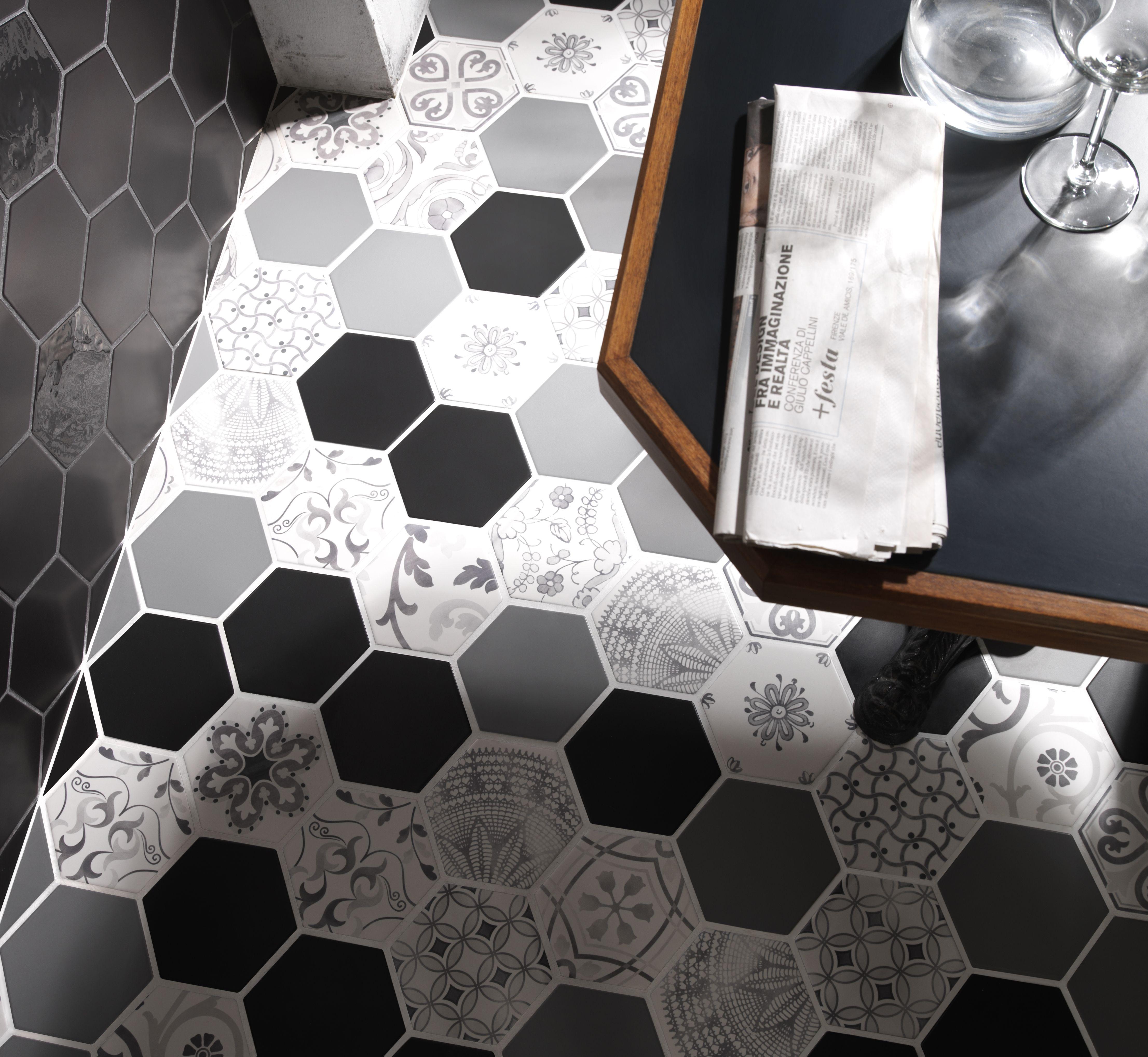 Examatt decoro examix tiles piastrelle walltiles for Pavimento ceramico hexagonal