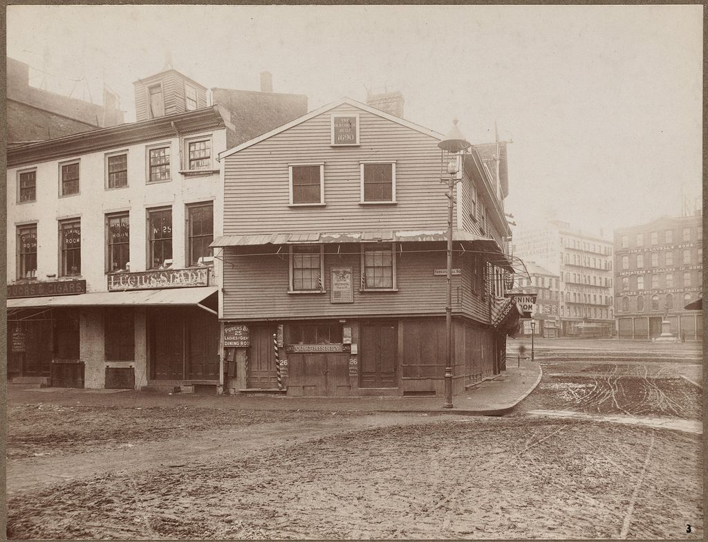 Old corner, built in 1690. Faneuil Square Ancient