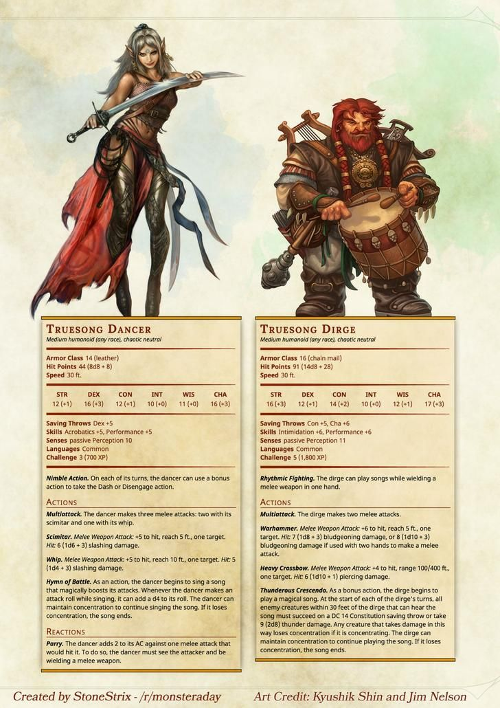 Homebrew] Monster a Day Twofer Tuesday: Truesong Bards in 2019