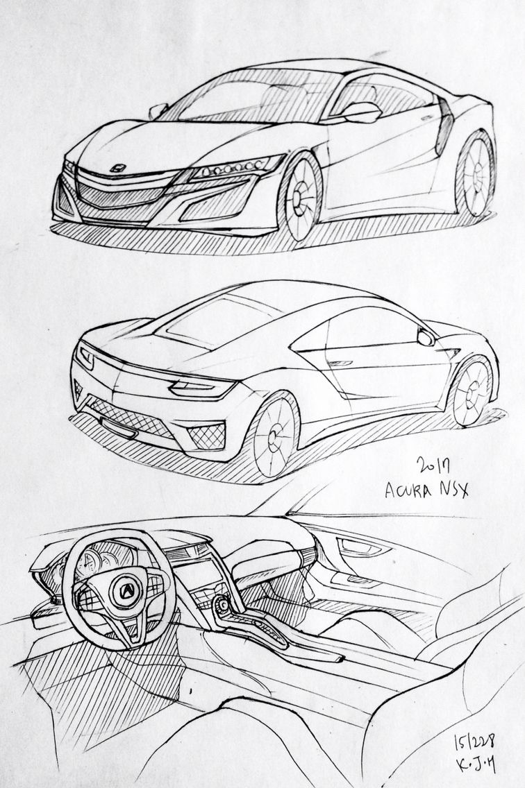 Car Drawing 151228 2017 Acura Nsx Prisma On Paper Kim J H Cars