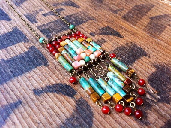 Native American Inspired Bohemian Turquoise Beaded Necklace