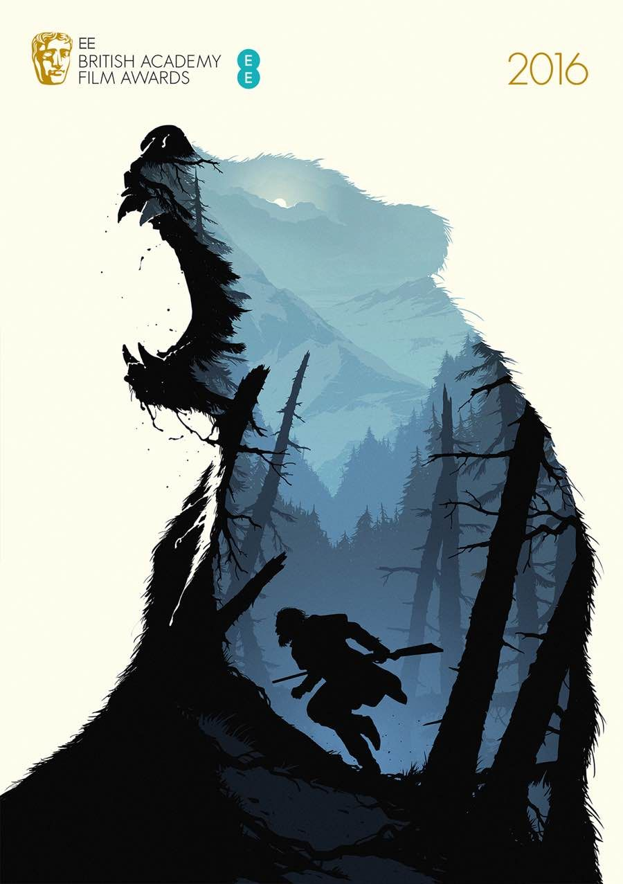 Poster design 2016 - Bafta Best Film Posters The Revenant By Levente Szab Double Meaning Design