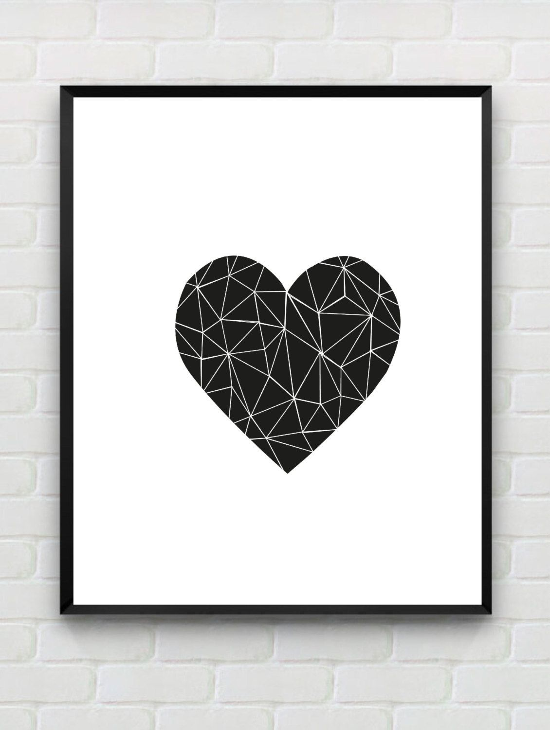 Heart Printable Art Print, Printable Geometric Wall Art, Printable Black  and White Wall Decor