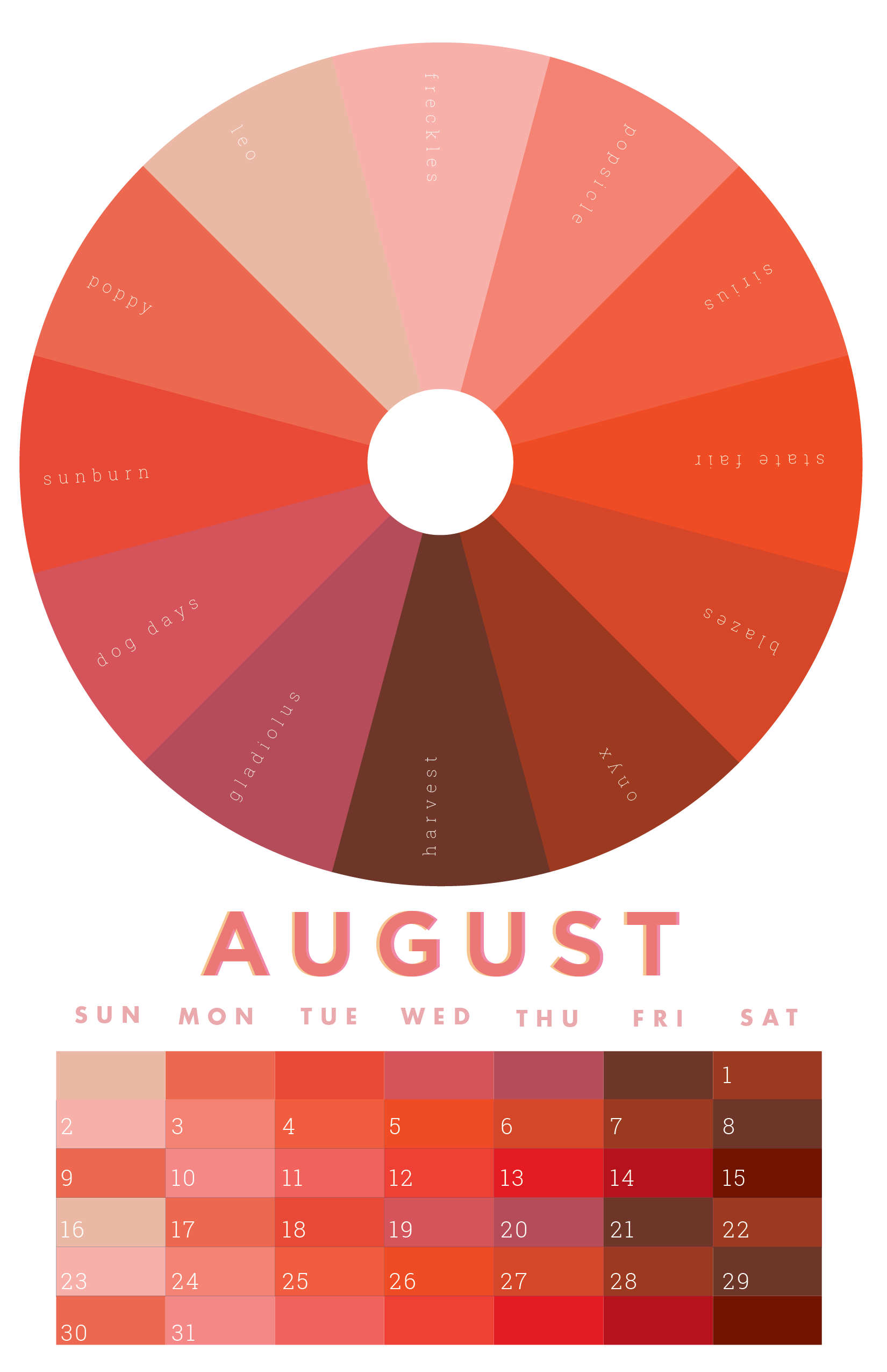 The colors of August | August colors, January colors