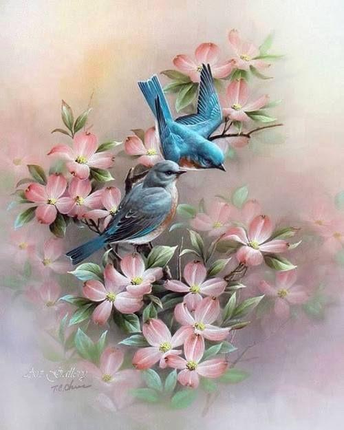 1900s Lithograph Spring Theme Art Children Bluebirds Flowers Free Ship