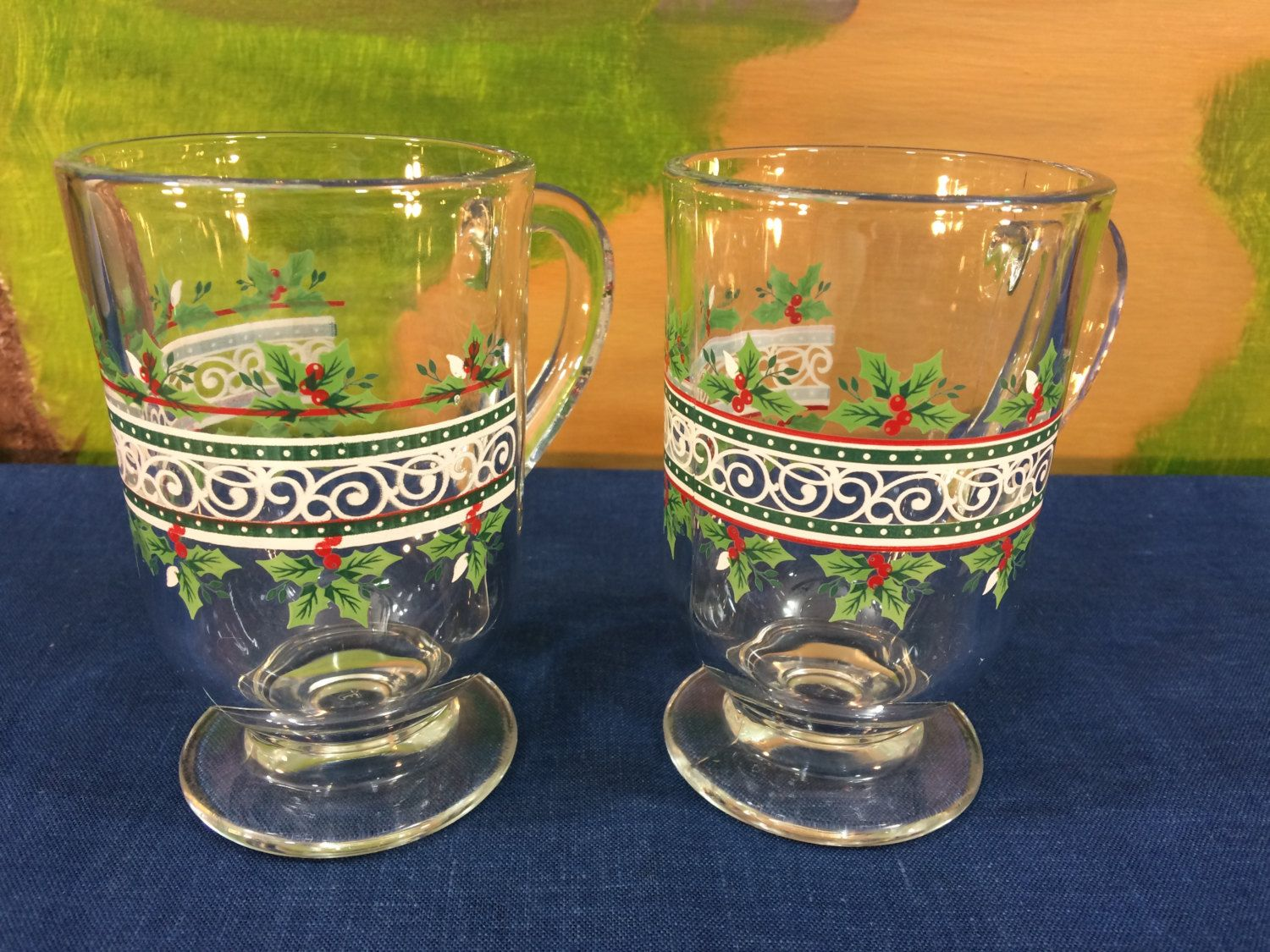 Vintage Libbey Christmas Pedestal Mugs Heavy Clear Glass Designed With Holly And Lace Set Of 2 by AdoptAKeepsake on Etsy
