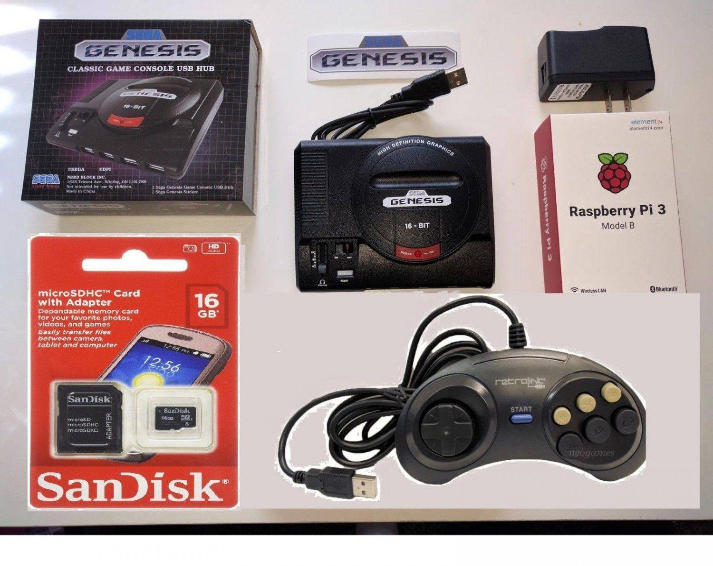 Raspberry Pi 3 mini Sega Genesis 16GB with Controller  Plays