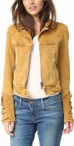 8a68ba126cb Free-People-Shrunken-Twill-Jacket -Honey-Gold-Denim-Lace-Up-Cuffs-V-Neck-OB493511