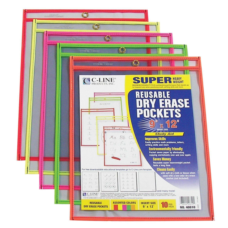 C Line Reusable Dry Erase Pockets 9 X 12 Inches Amazon