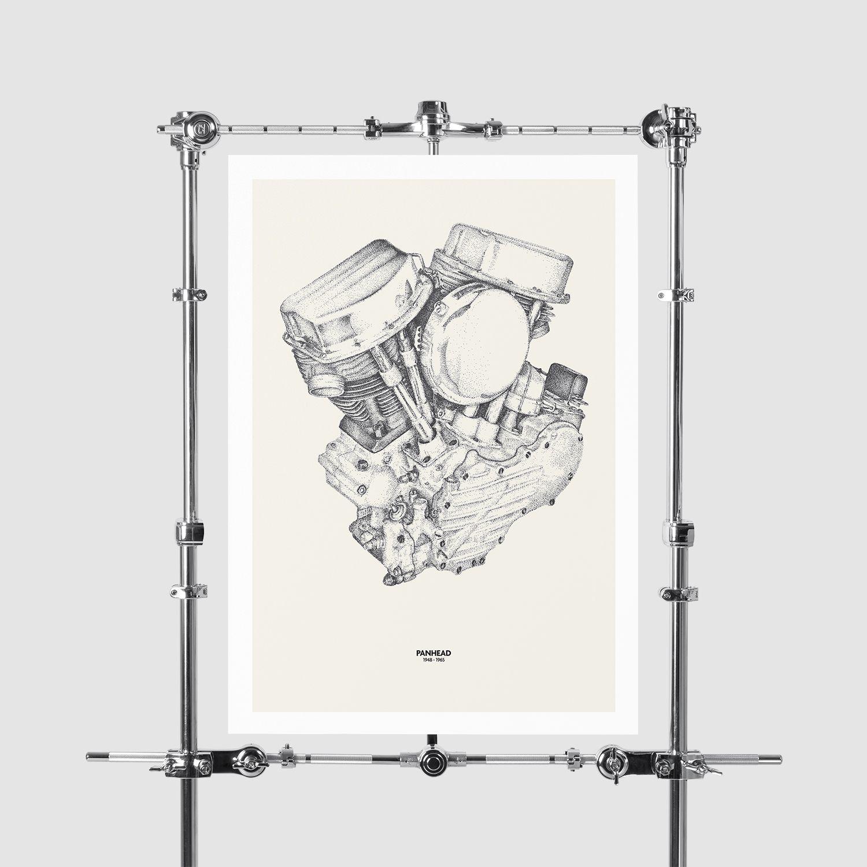 CLASSIC ENGINES SERIES Harley Davidson Panhead Engine Digital Print ...
