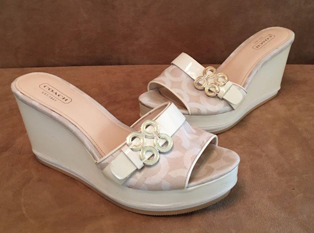 9c6cf3dbb31 7 1 2 Coach Geri Wedge Patent Leather C Logo Platform Sandals A0121 ivory  7.5 B  Coach  PlatformsWedges  Casual