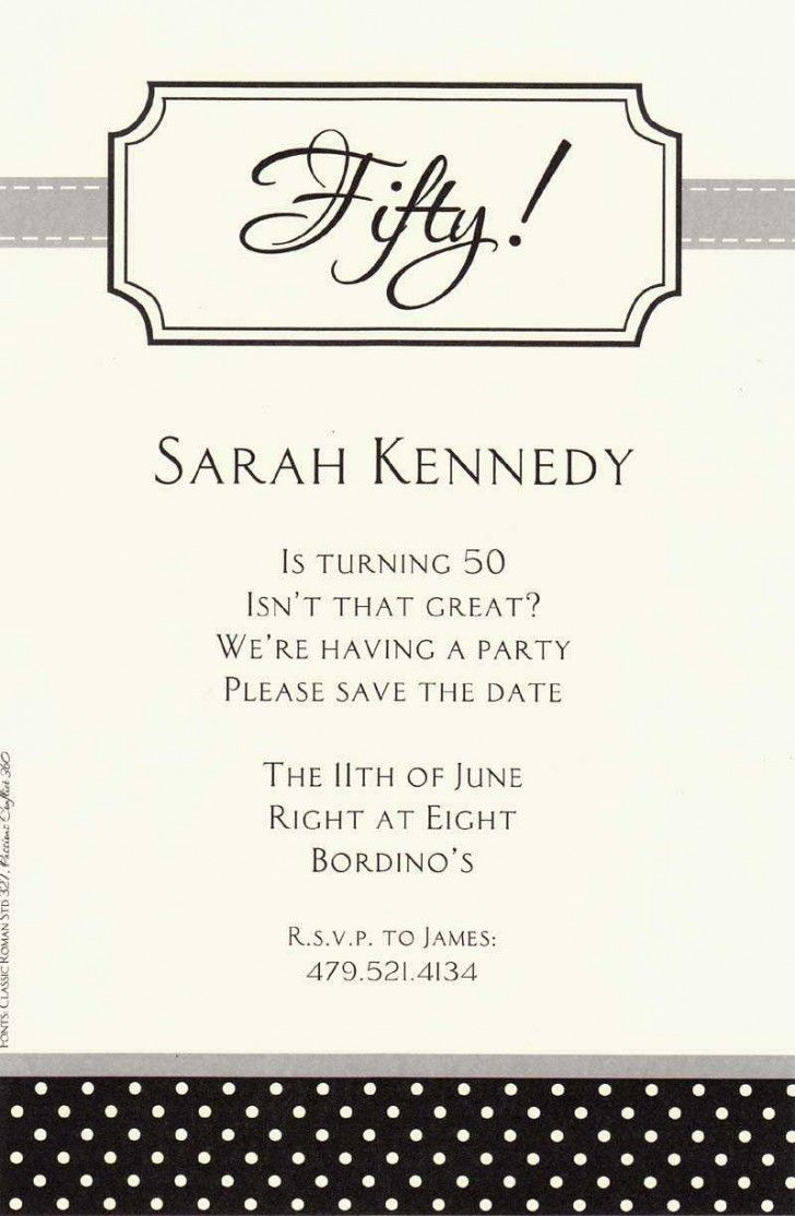 Formal 50th white paper materials birthday party invitation wording formal 50th white paper materials birthday party invitation wording with black color scheme card word 23 best pictures from birthday party invitation stopboris Choice Image