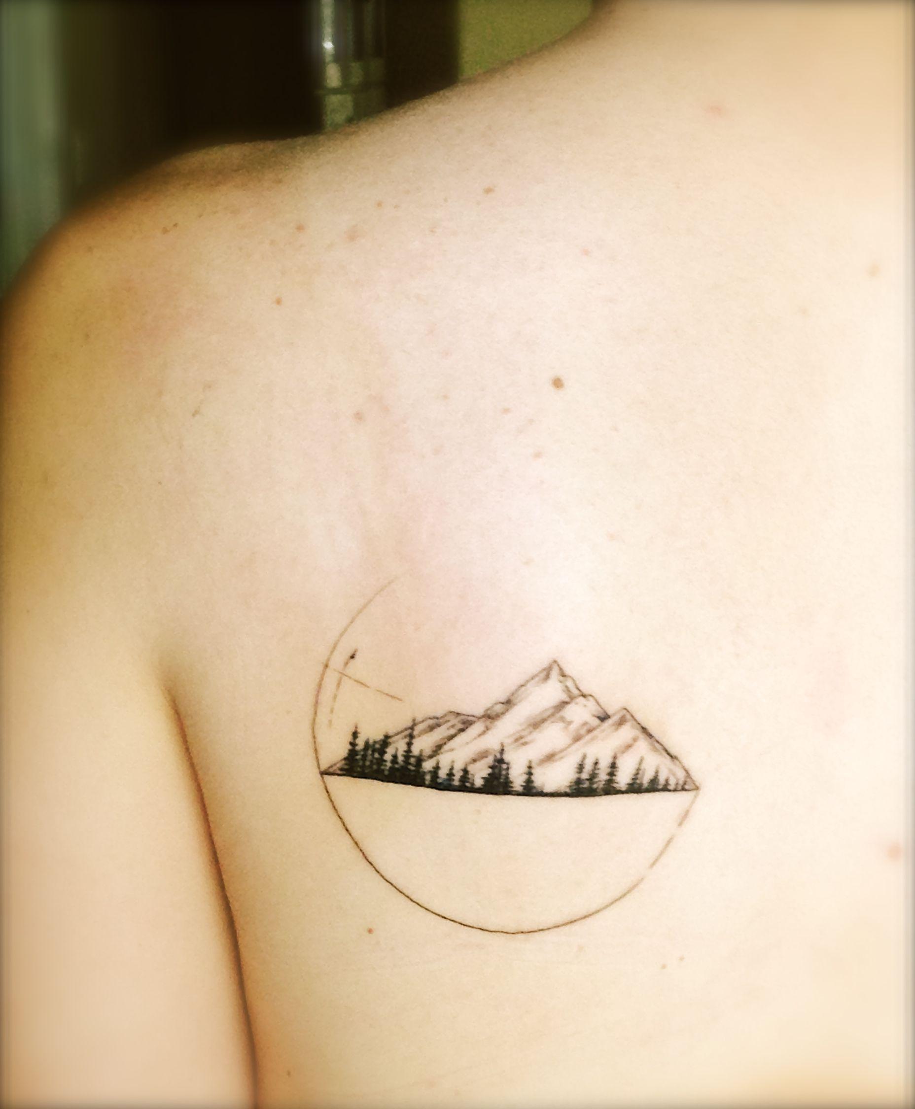 Mountains Pine Trees Geometric Shapes Tattoos Pinterest