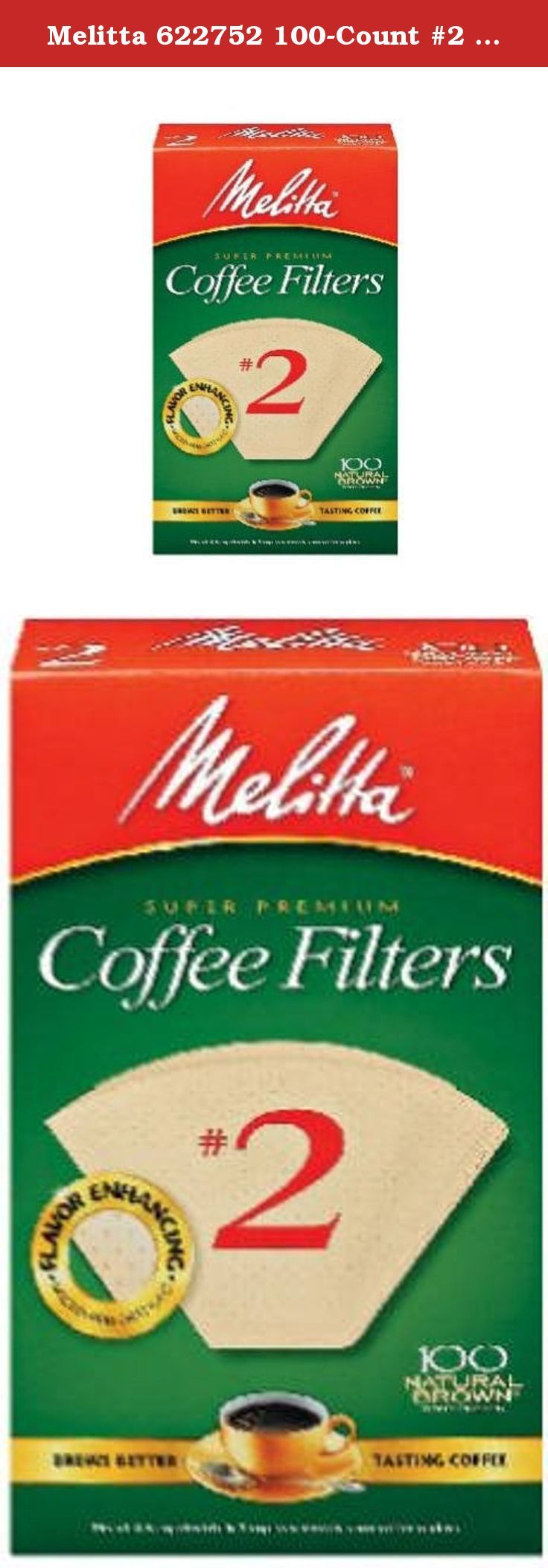 Melitta 622752 100Count 2 Melitta Natural Brown Cone