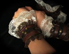 Romantic Victorian Steampunk Cuffs Leather & LACE  sexy slave bracelets / bdsm cuffs, white or off-white lace, brass, brown leather on Etsy, $79.08 AUD