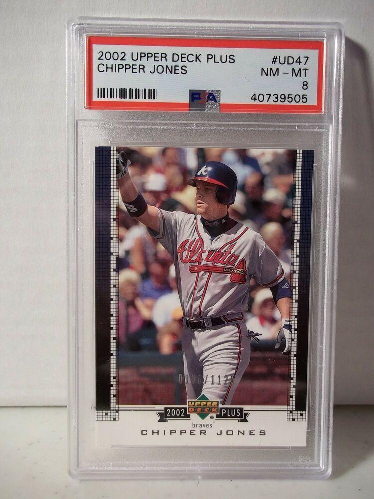2002 upper deck chipper jones psa nmmt 8 baseball card