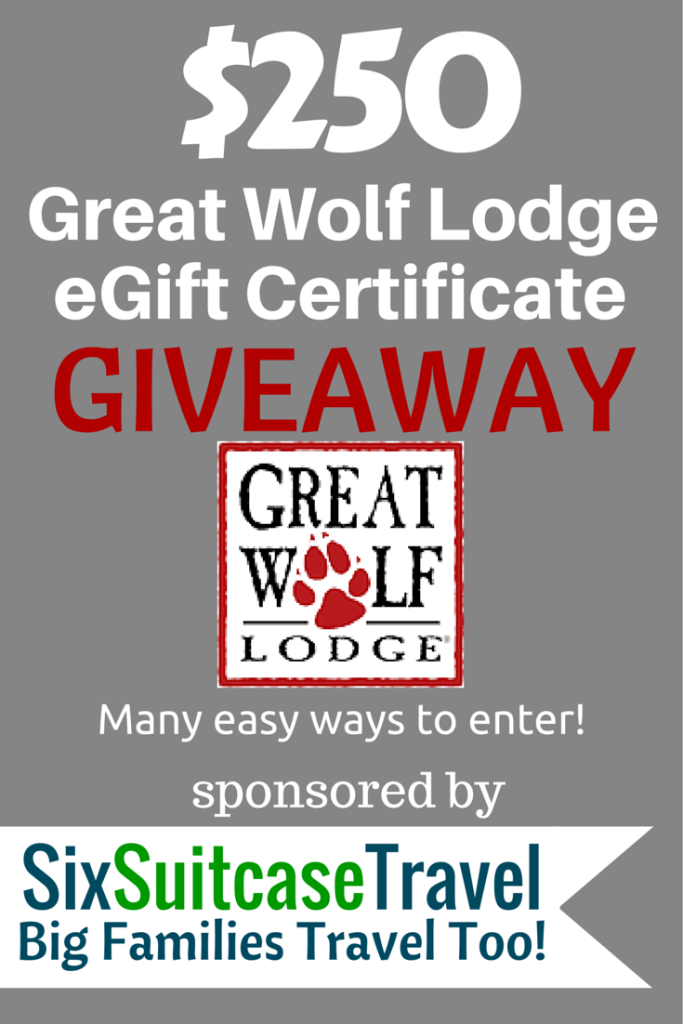 Enter to Win a $250 Great Wolf Lodge eGift Certificate | Wolf lodge ...