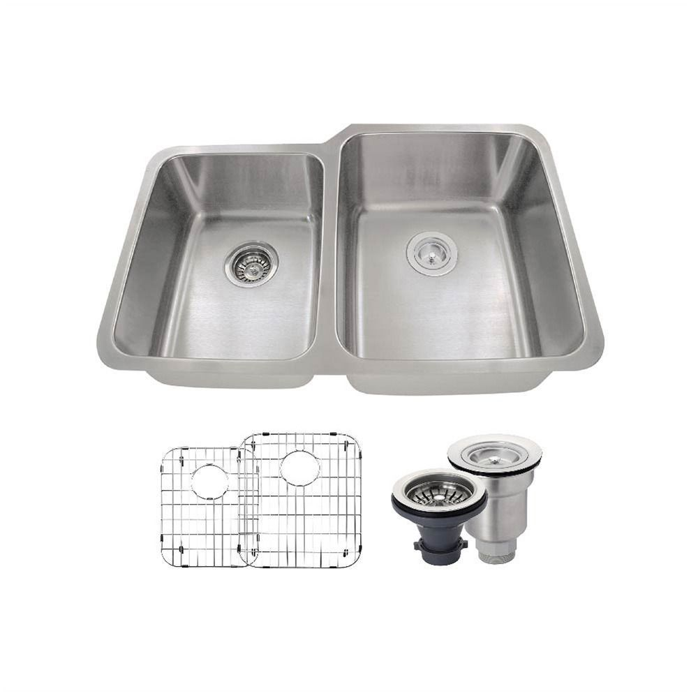 513l offset double bowl stainless steel sink two grids