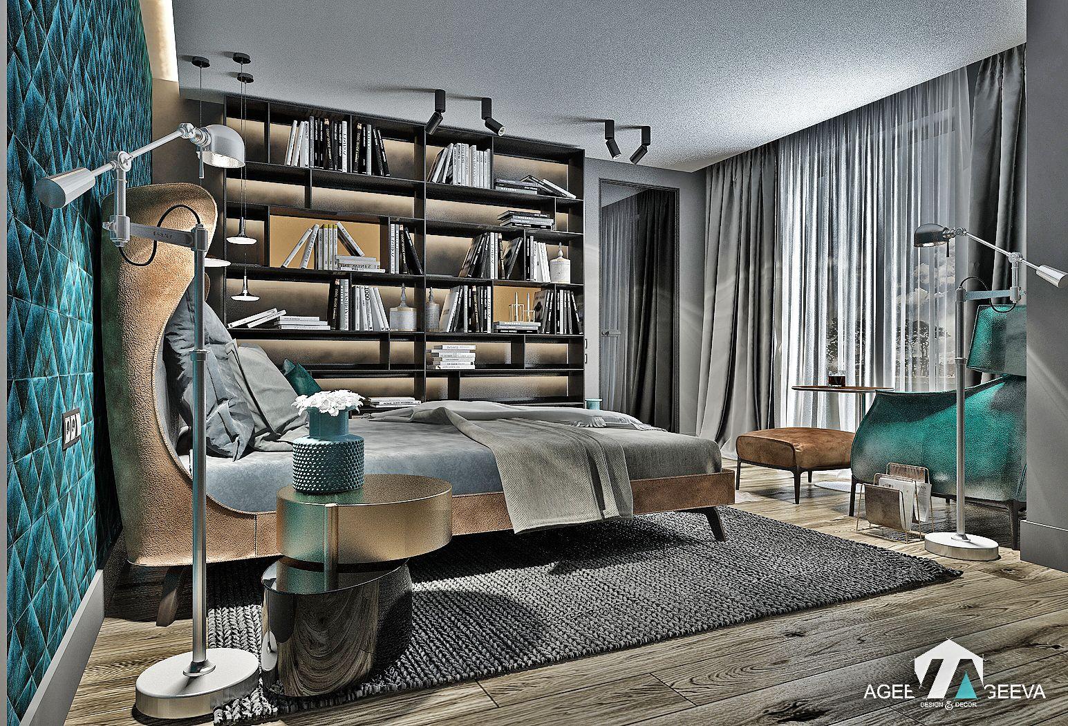 дизайн спальни в загородном доме, the `70s, camel& grey& ocean wave color   www.ageev-ageeva.com