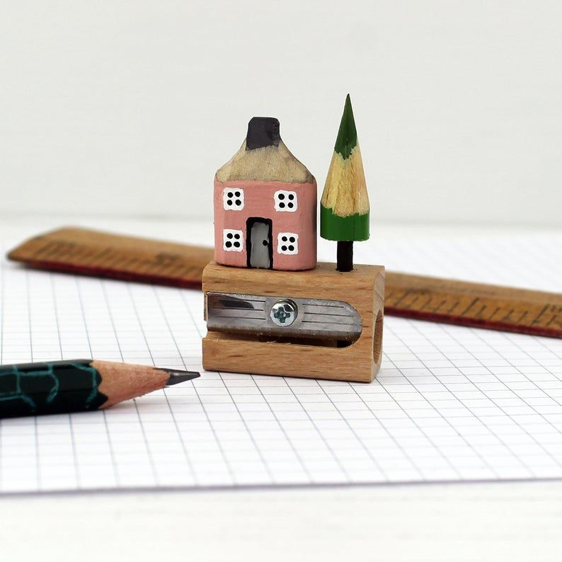 Pencil House On Pencil Sharpener Gift Etsy In 2020 House Warming Gifts Pencil Sharpener Wooden Art