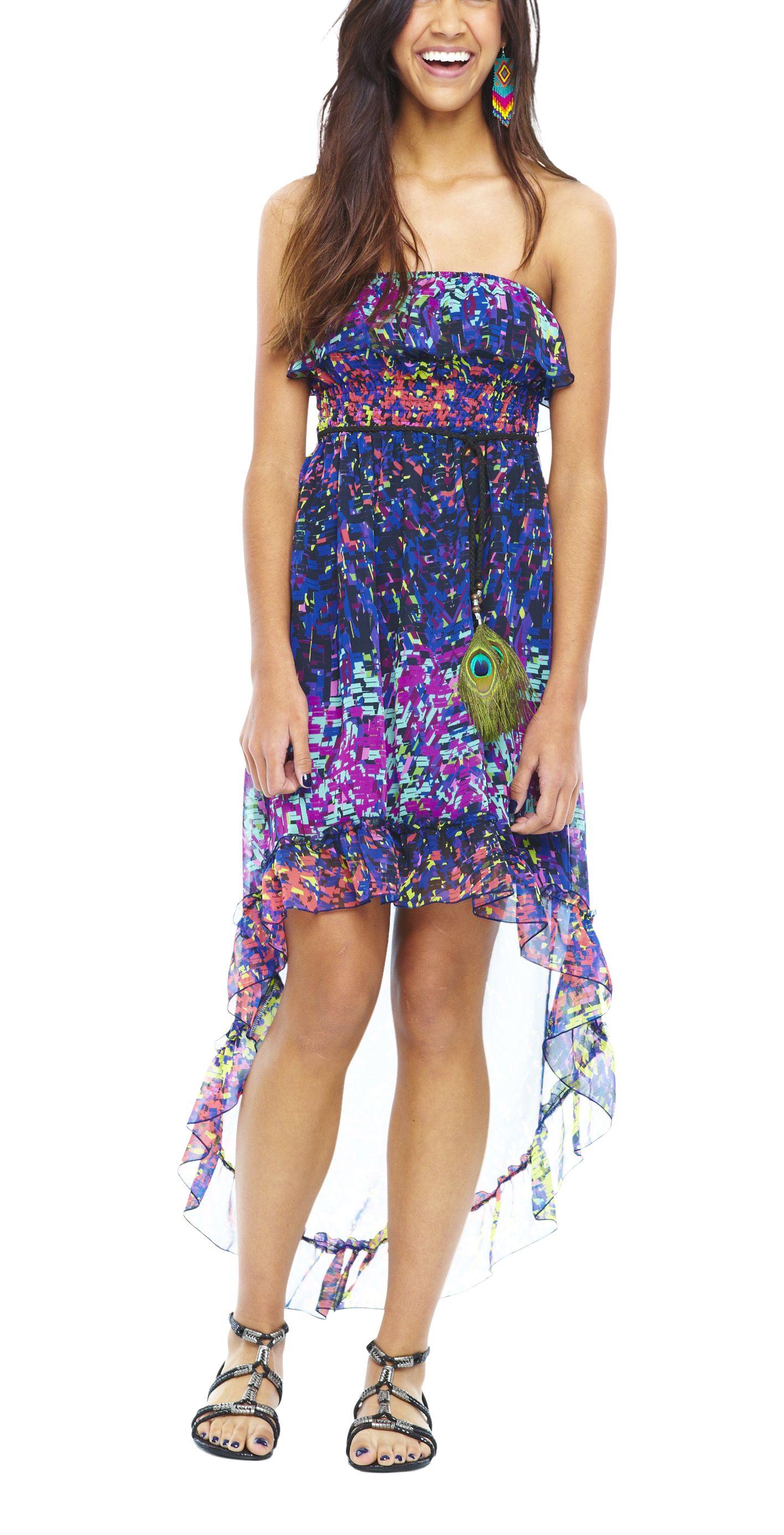 Ruffle Some Feathers Juniors Self Esteem Ruffle Tube Dress Teens Dresses Dresses For Teens Fashion [ 2773 x 1416 Pixel ]