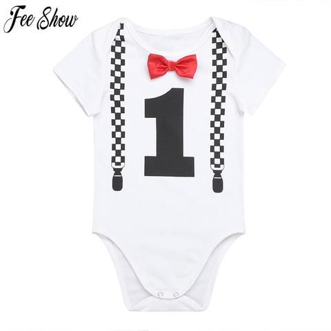 eaacc710366c Infant Baby Boys Short Sleeves Number ONE First Birthday Newborn ...