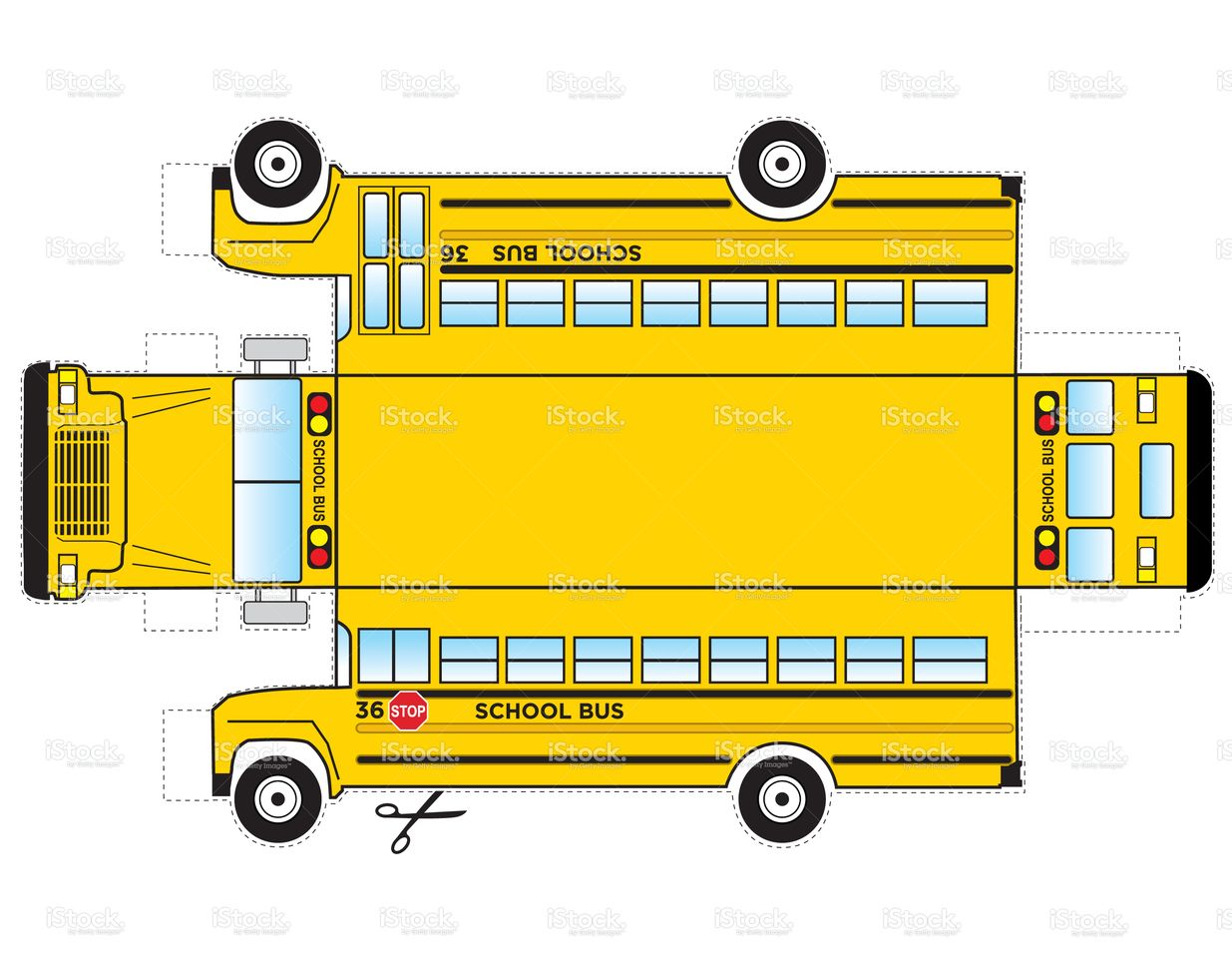 This Is A School Bus That Can Be Cut Out And Glued Taped
