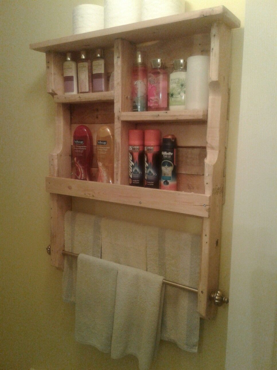 Bathroom Shelf and Towel Rack. Fun and easy project that also added ...
