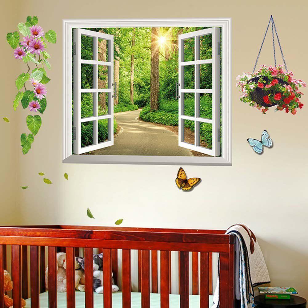 3d Fake Window Stickers Home Decor Fake Window Window Mural