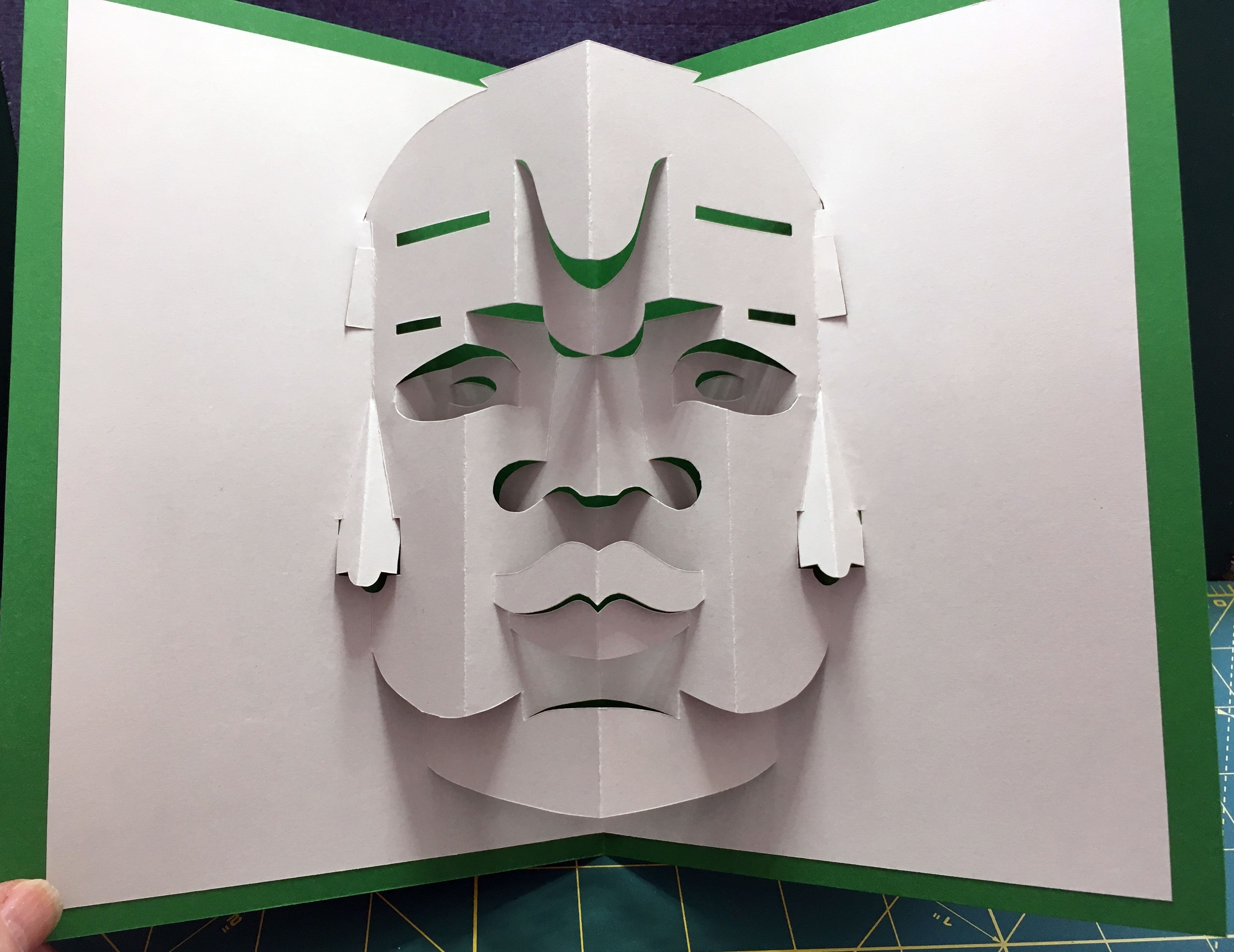 Olmec Head Sculpture Pop Up Card Template From Origami Architecture Famous Sites Pop Up Card Templates Origami Architecture Sculpture